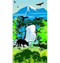 Jungle waterfall vector