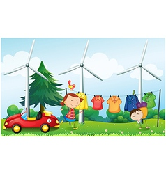 Kids playing at the hill with hanging clothes vector
