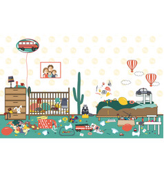 kids untidy and messy room child scattered toys vector image