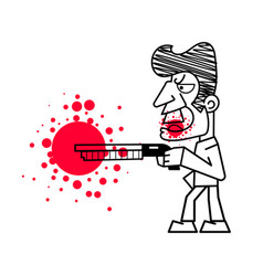 killer with firearms blood on white vector image