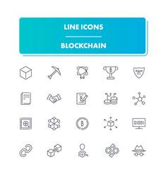 line icons set blockchain vector image