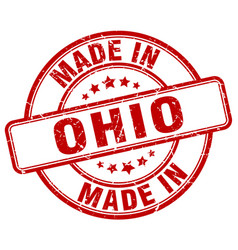 Made in ohio red grunge round stamp vector