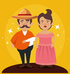Mariachi man with woman together to celebrate day vector