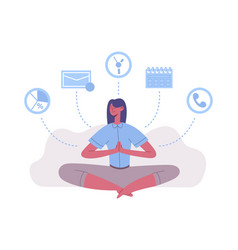 Meditation lotus position woman work and rest vector