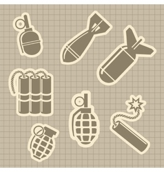Military rocket and dynamit icons vector image