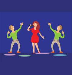 music performance singer with microphone dancers vector image