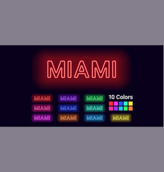 Neon name miami city vector