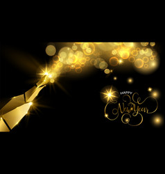 New year gold champagne bottle greeting card vector