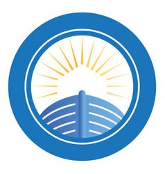 Noahs ark with sunshine emblem logo vector