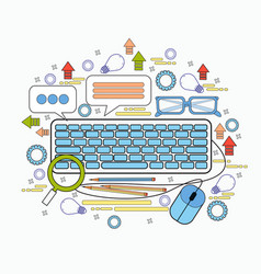 office staff desktop keyboard workplace icons vector image