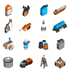 Oil Industry Isometric Icons vector image