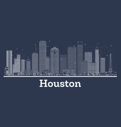 Outline houston texas city skyline with white vector