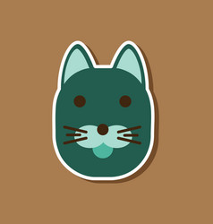 Paper sticker on stylish background cartoon cat vector