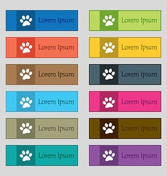 Paw icon sign Set of twelve rectangular colorful vector