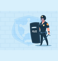 Policeman hold shield wearing helmet uniform cop vector