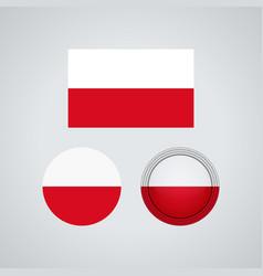 polish trio flags vector image