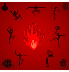 Primitive people dancing by the fire vector