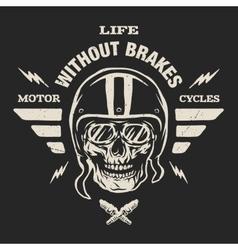 Racer skull in helmet vintage style vector image
