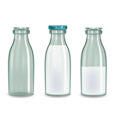 Realistic transparent glass milk bottle set vector