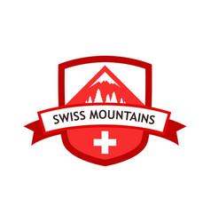red logo of swiss mountains vector image