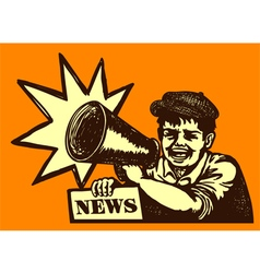 Retro newspaper vendor kid screaming megaphone vector