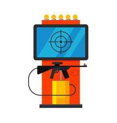 Retro shooting arcade game machine with rifle vector