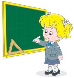 Schoolgirl writes on blackboard vector