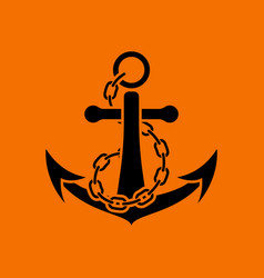 Sea anchor with chain icon vector