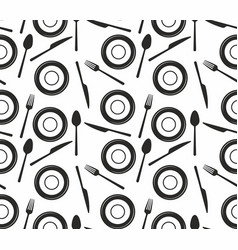 seamless pattern with knives forks spoons and p vector image