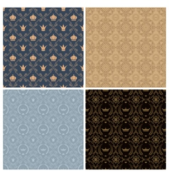 Seamless set four vintage backgrounds in vintage vector image
