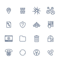 Set 16 icons for software application vector