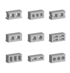 Set 3d cinder blocks vector