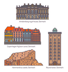 Set isolated denmark landmarks or buildings vector