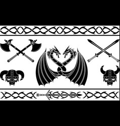 set of fantasy viking signs and patterns vector image