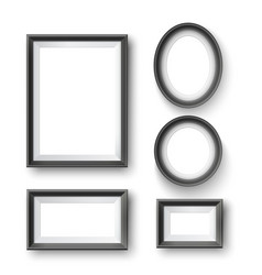 set of modern minimalist black blank picture frame vector image