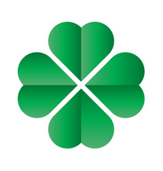 Shamrock - green four leaf clover icon good luck vector