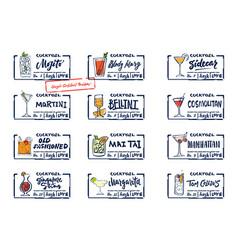 Sketch alcohol drinks labels set vector