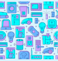 smart home seamless pattern with automated things vector image