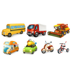 transportation 3d icon set bicycle scooter car vector image