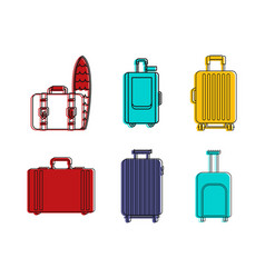 travel bag icon set color outline style vector image