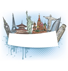 travel to wonders world banner vector image