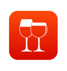 two glasses of wine icon digital red vector image