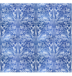Vintage indigo dyed seamless pattern ethnic blue vector