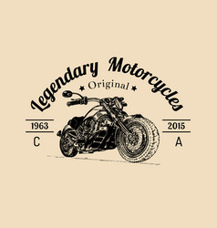 vintage legendary motorcycles logo biker vector image