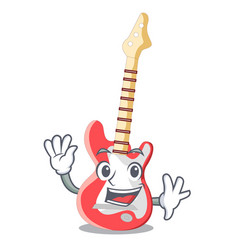 waving electric guitar in the cartoon shape vector image