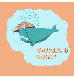 whale with an umbrella vector image