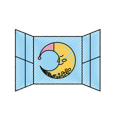 Windows bedroom with cute moon vector