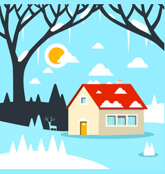 winter flat design landscape with house on field vector image