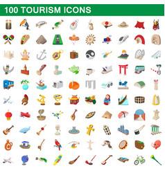 100 tourism set cartoon style vector image