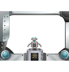 A metallic frame with a robot standing in the vector image vector image
